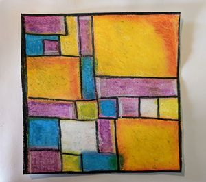 Abstract in oil pastels.