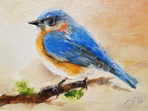 Bluebird original oil painting Backy - slovoart
