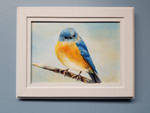 Bluebird original oil painting - slovoart