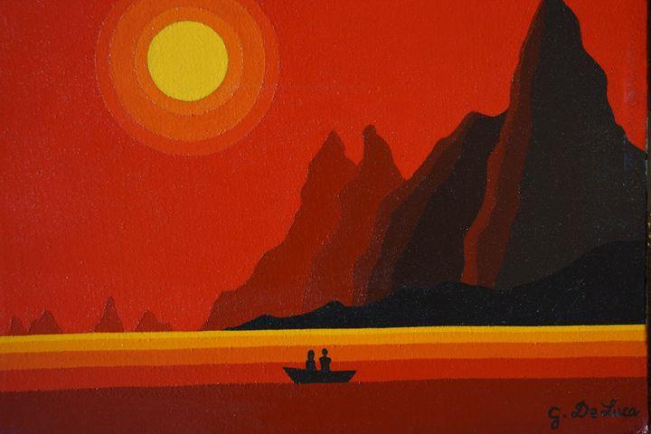 Innamorati al tramonto - Giovanni De Luca art