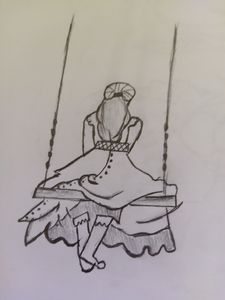 The girl swinging
