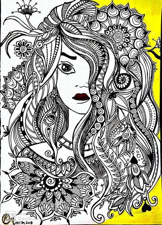 Floral girl doodle - Ridhi