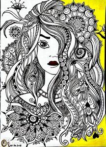 Floral girl doodle