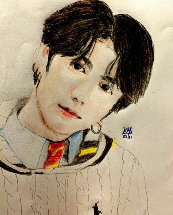 Color Pencil art of Jeon Jungkook - Pencil Drawings