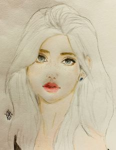 Color pencil drawing of girl
