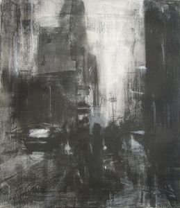 Abstract charcoal cityscape