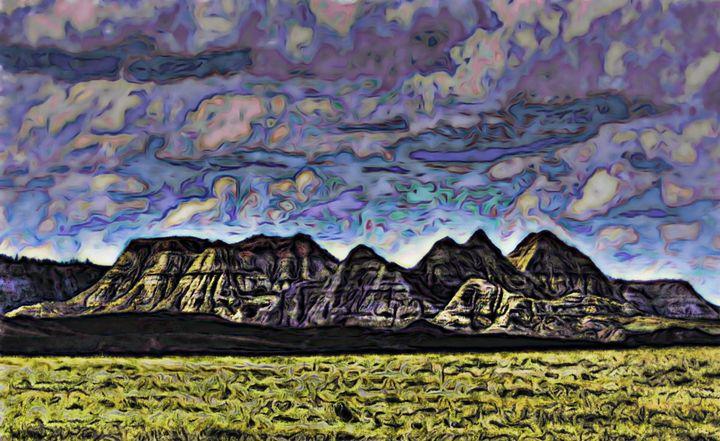 Montana Badlands Sunlit Hills - Double Moon Art