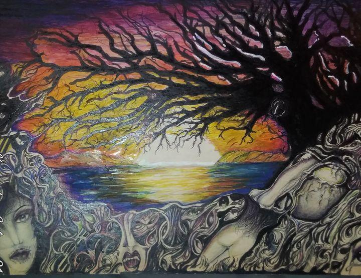 Dead tree over the horizon - Tony Salinas works of art