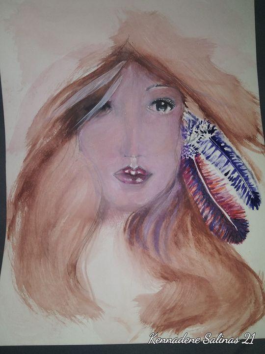 Native girl - Tony Salinas works of art