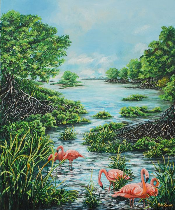 FLAMINGOS AMONG THE MANGROVES - Ruth Bowen Professional Artist