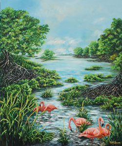 FLAMINGOS AMONG THE MANGROVES