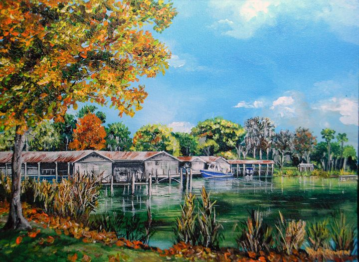 MOUNT DORA BOATHOUSES - Ruth Bowen Professional Artist