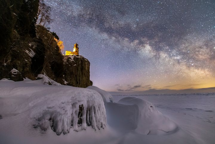 Winter Split Rock Milky Way - James Netz Photography