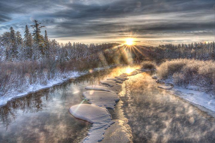 Winter Namekagon River Sunrise - James Netz Photography