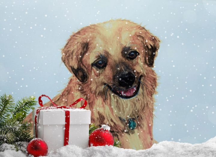 """Oscar at Christmas"" - Sandi's Artistic Impressions"