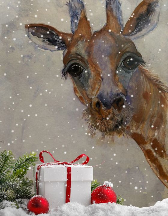 """Giraffe at Christmas"" - Sandi's Artistic Impressions"