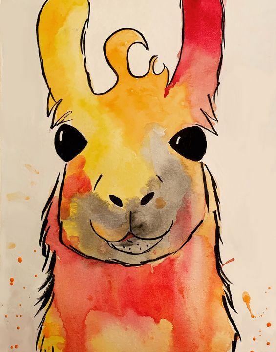Orange Llama Splash - alliesattic