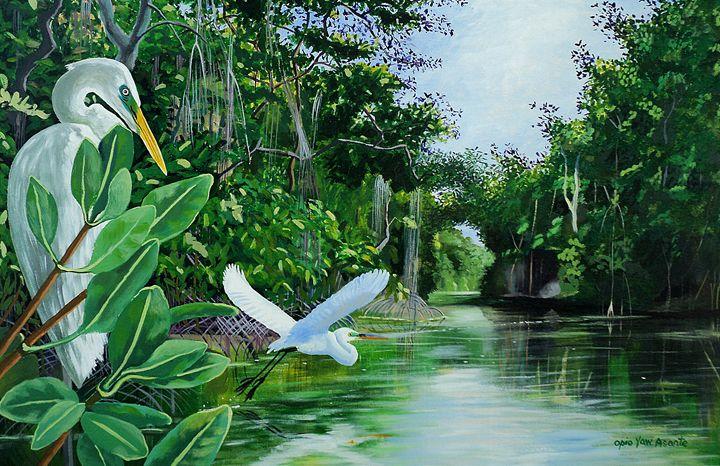 Great Egrets Over Caroni - Opio Yaw Asante
