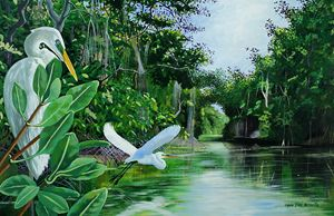 Great Egrets Over Caroni
