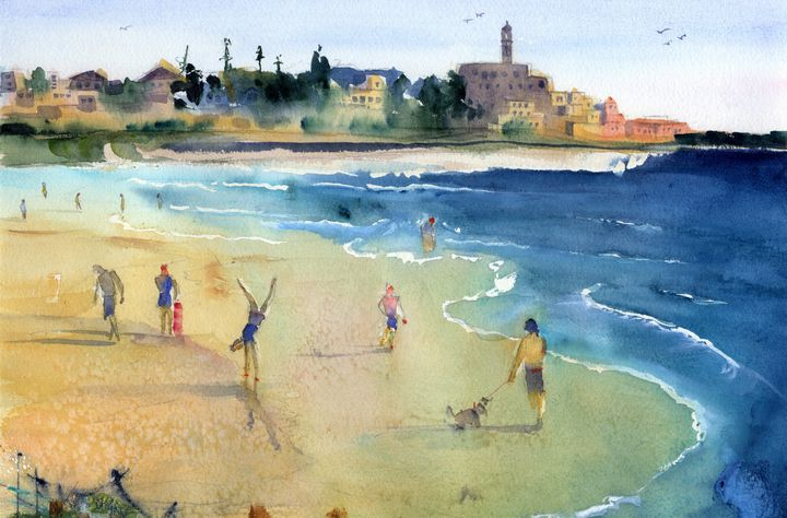 Maravi Beach - Tel Aviv - Clem DaVinci Watercolors