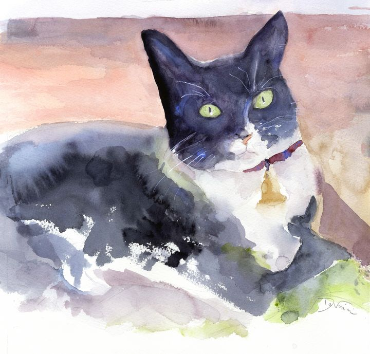 Penguini, The Tuxedo Cat - Clem DaVinci Watercolors