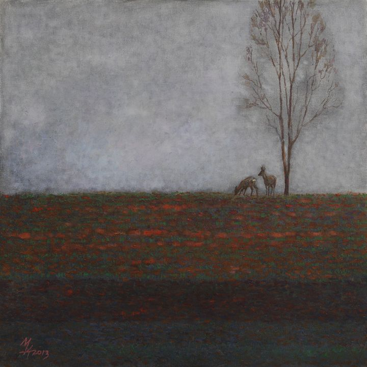 Lonely Tree with two Roes - Attila Meszlenyi