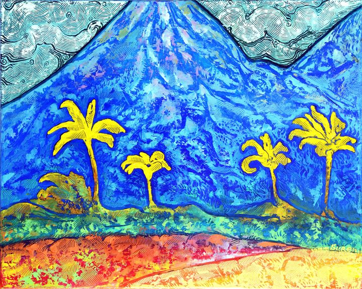 Mountain and Four Palms - ArtGallery