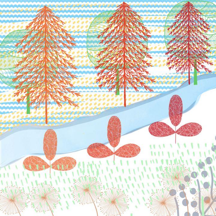 River in the red forest - ArtatNavita's