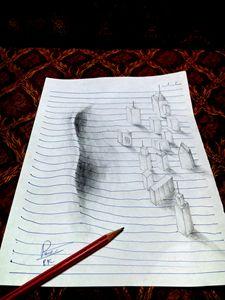 Tsunami pencil art