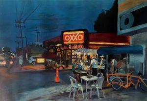 urban dusk at oxxo mexico