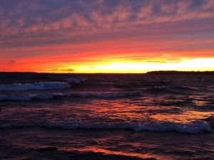 Sunset at lake shore park