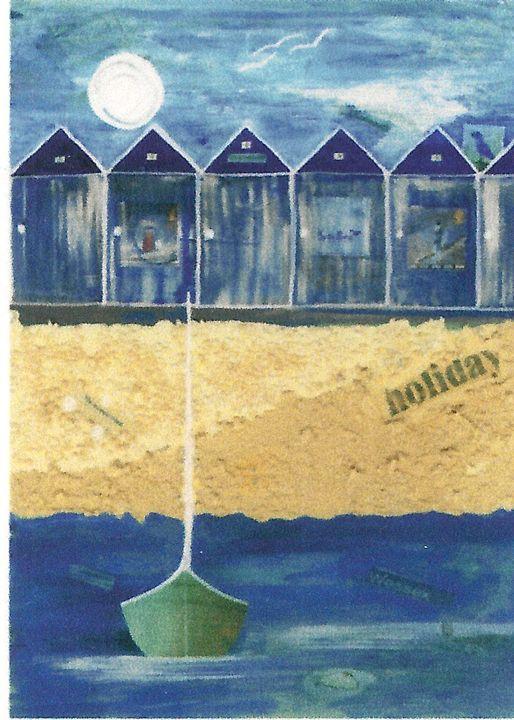 Charmouth Beach Huts - Heatherland Original Art