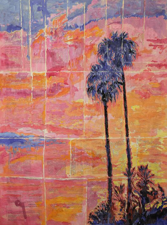 Sunset And Palm Trees. - Marat Cherny