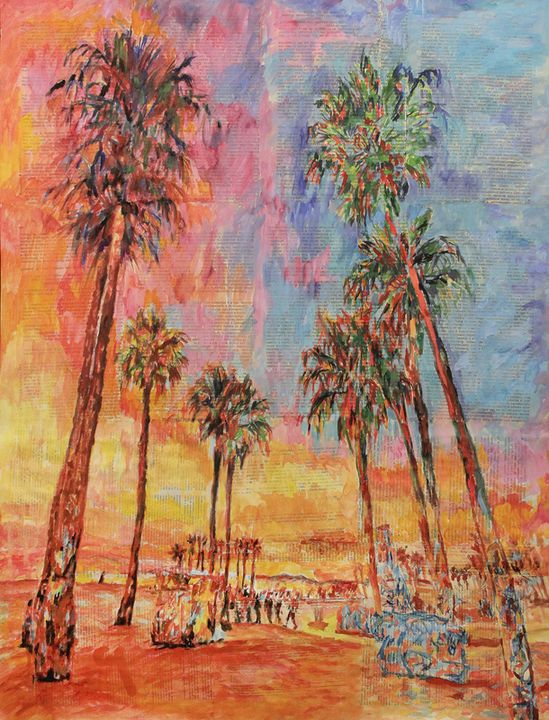 Beach,palm Trees And The Sunset. - Marat Cherny