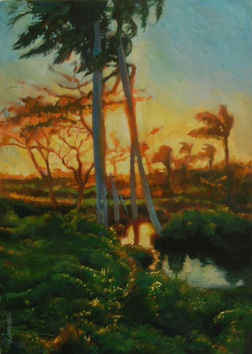 Cuban Landscape, river with palms - Yoandy Carrazana