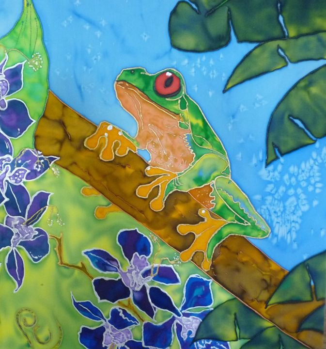 Tree Frog Orchid - Pam Charity Silk Artist