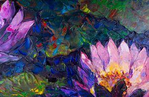 Oil painting beautiful lotus flower