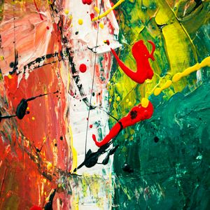 Green, White, Red Abstract Painting