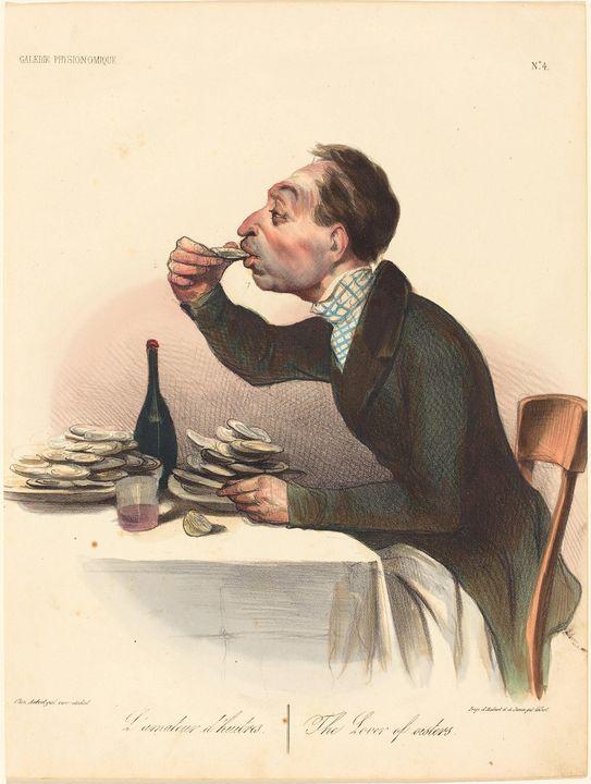 Honoré Daumier~L'amateur d'huitres - Classical art