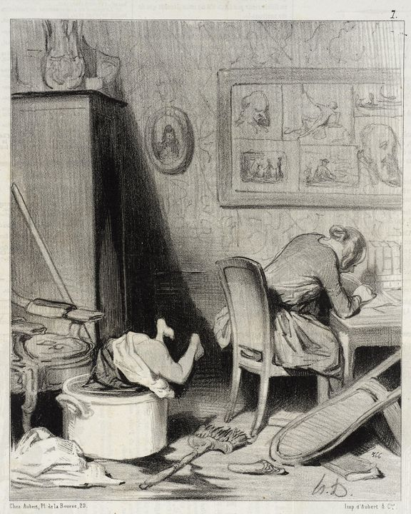 Honoré Daumier~La Mère est dans le f - Classical art