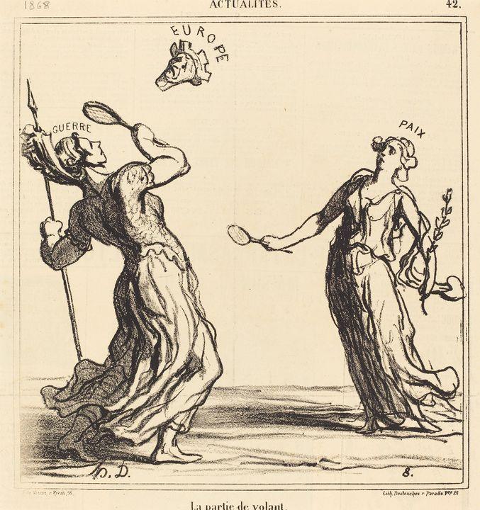 Honoré Daumier~La Partie de volant - Classical art