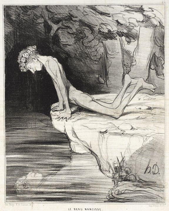 Honoré Daumier~Le beau Narcisse - Classical art