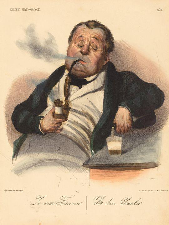 Honoré Daumier~Le vrai Fumeur - Classical art