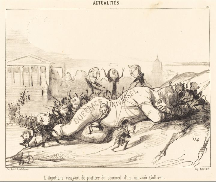 Honoré Daumier~Lilliputiens essayant - Classical art