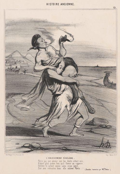 Honoré Daumier~L'enlevement d'Hélène - Classical art