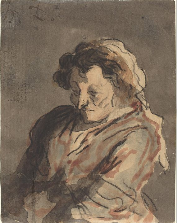 Honoré Daumier~Old Woman Seated - Classical art