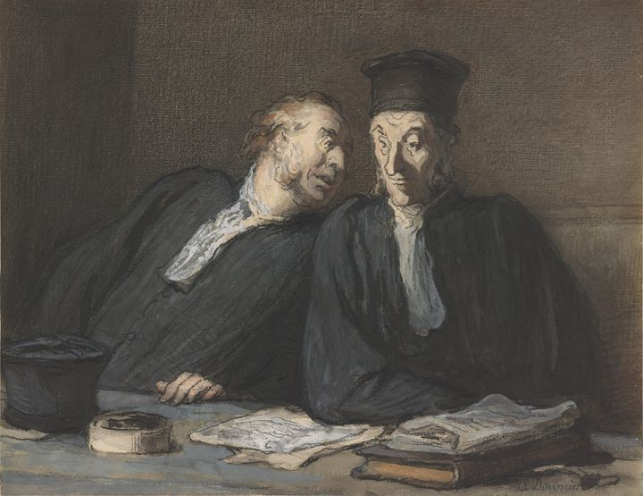Honoré Daumier~Two Lawyers Conversin - Classical art