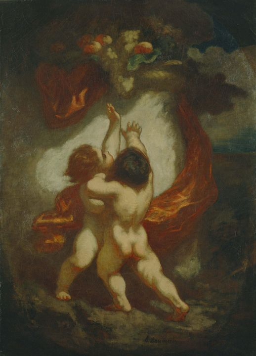 Honoré Daumier~Two Putti Striving fo - Classical art