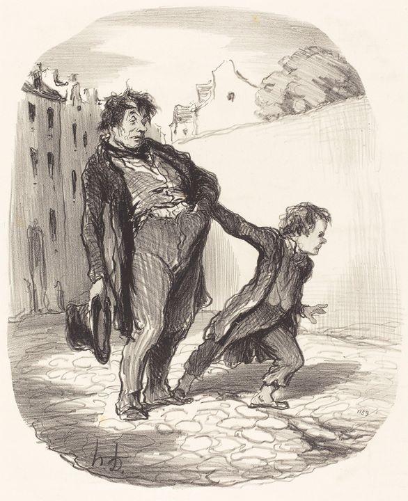 Honoré Daumier~Un Fils modèle - Classical art