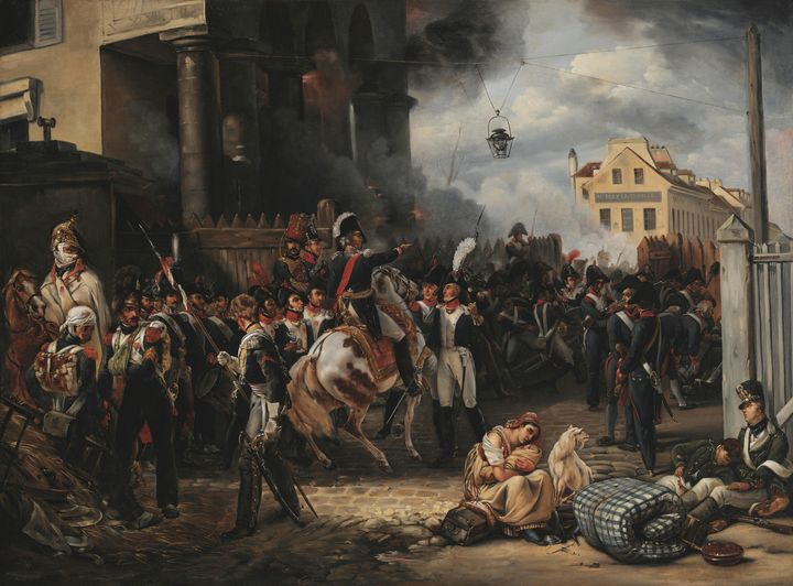 Horace Vernet~The barricade at Porte - Classical art